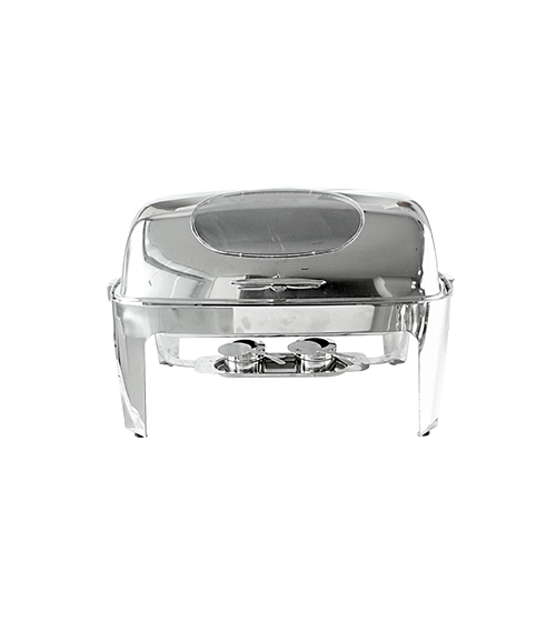 Stainless Steel Chafer Roll Top Rectangular with Viewing Window 8.5L