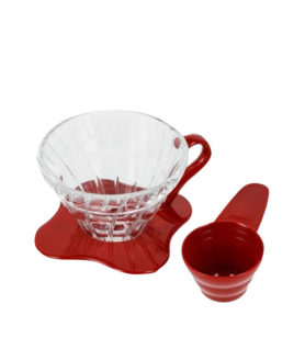 1162035 VDG-01R Glass Coffee Dripper V60 01 Red