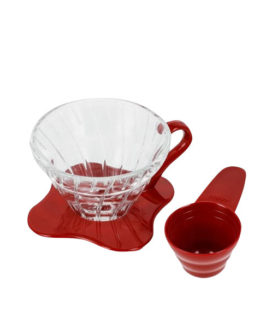 1162037 VDG-02R Glass Coffee Dripper V60 02 Red